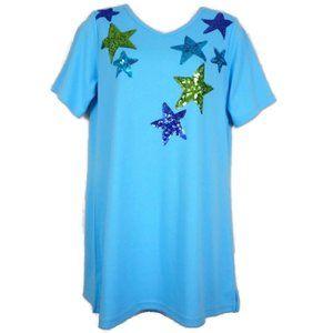 Quacker Factory Top Blue XXS Short Sleeve Sequins